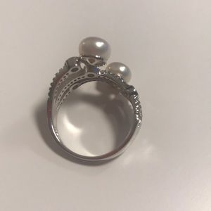 JTV Jewelry - JTV Pearl and White Cubic Zirconia Ring